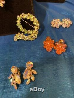 Vintage Sherman Rhinestone jewelry lot earrings necklace brooch signed 14 pieces