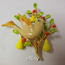 Vintage Signed ART Pear Bird Christmas Tree Enamel Blue Rhinestone Pin Brooch