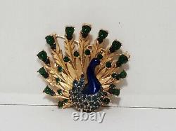 Vintage Signed BOUCHER Gold Tone Rhinestones Enamel Peacock Brooch 8908