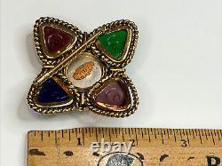 Vintage Signed CHANEL Gripoix Glass & Rhinestone MALTESE CROSS 1980s Brooch Pin