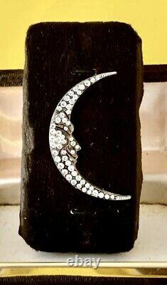 Vintage Signed CHRISTIAN DIOR Silver Tone Rhinestone CRESCENT MOON Brooch Pin