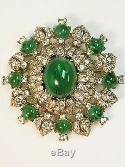 Vintage Signed CINER Jewels of India Flawed Emerald Cabochon Rhinestone Brooch