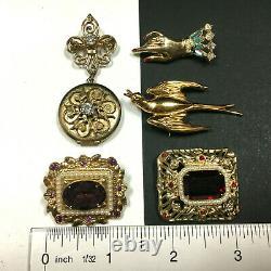Vintage Signed CORO Pegasus Brooch Pin LOT Art Deco Victorian Rhinestone MM17TC
