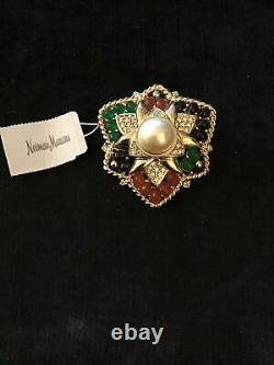 Vintage Signed Ciner Amber Green Cabochon Rhinestone Pearl Pin Brooch