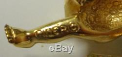 Vintage Signed Ciner Rhinestone Cupid Angel Pin Brooch