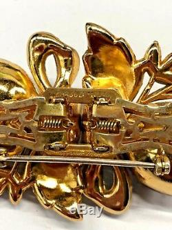 Vintage Signed Coro Duette Camilla Brooch Green/Red Enamel Trembler Adolph Katz