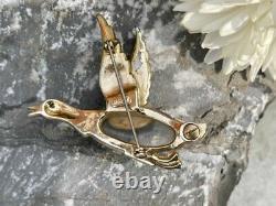 Vintage Signed Coro Jelly Belly & Rhinestone Mallard Duck Figural Brooch Pin