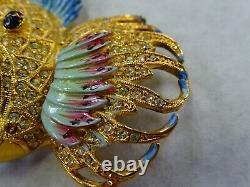 Vintage Signed Corocraft Large Rhinestone FISH Brooch Pin Costume Jewelry