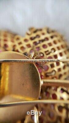 Vintage Signed Depose Large Pink Flower Crystal Fur Pin Brooch & Clip Earrings