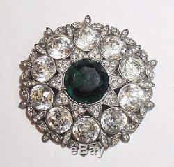Vintage Signed EISENBERG ORIGINAL Green Clear Rhinestone Pin Brooch Large