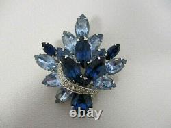 Vintage Signed Eisenberg Blue Crystal Rhinestone Brooch Pin Stunning