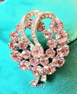 Vintage Signed Eisenberg Ice Rhodium Plated Pink And Clear Rhinestone Brooch