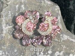 Vintage Signed Eisenberg Rhinestone Ribbon Ice Brooch & Clip Earrings Pin Set