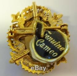 Vintage Signed FLORENZA Victorian Lady Rhinestone Genuine Cameo Tag Pin Brooch