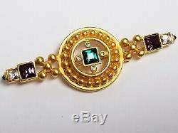 Vintage Signed GIVENCHY Byzantine Multi Rhinestone Crystal Cab Earrings & Brooch