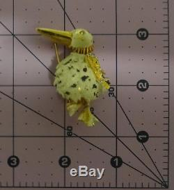 Vintage Signed HATTIE CARNEGIE Enamel Rhinestone Bird Pin Brooch