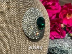 Vintage Signed Hattie Carnegie Green Rivoli Rhinestone Layered Domed Brooch Pin