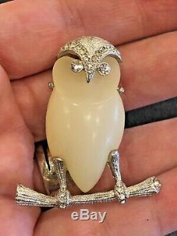 Vintage Signed Hattie Carnegie Lucite Rhinestone Owl Brooch Pin