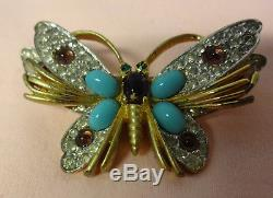 Vintage Signed JOMAZ Turquoise Cabochon Rhinestone Butterfly Figural Pin Brooch