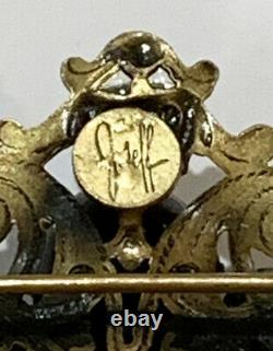 Vintage Signed JOSEFF Of Hollywood Cherub Brooch With Rhinestones 1940s