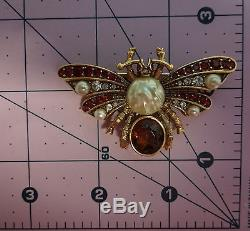 Vintage Signed Joan Rivers Butterfly Insect Bug Rhinestone Pearls Pin Brooch