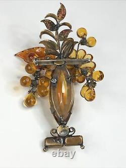 Vintage Signed LAWRENCE VRBA Molded Glass & Rhinestone Flower Vase Brooch Pin