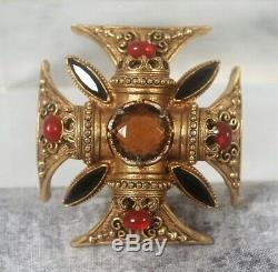 Vintage Signed Large Florenza Goldtone Cabachon Rhinestone Maltese Cross Brooch