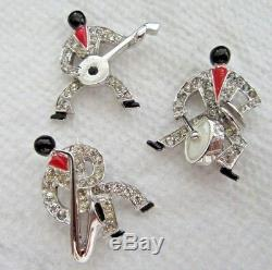 Vintage Signed MB Boucher Jazz Band 3 piece Set Scatter Pins Blackamoor Brooch