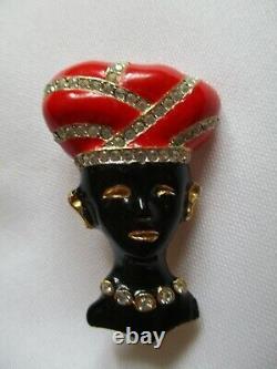 Vintage Signed Maresco African Red Turban Rhinestone Lady Blackamoor Pin/brooch
