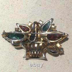 Vintage Signed Mazer Glass Fruit Salad Rhinestone Flower Basket Brooch Pin