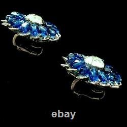 Vintage Signed Miriam Haskell Blue Sapphire Art Glass Brooch Pin Earrings Set