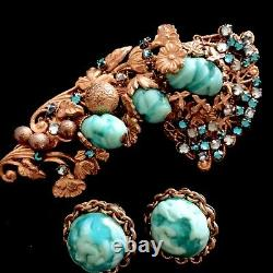 Vintage Signed Miriam Haskell Green Turquoise Art Glass Brooch Pin Earrings Set