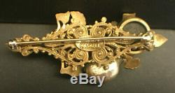 Vintage Signed Miriam Haskell Jeweled & Pearl Brooch / Pin 2.75 x 1.25