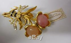 Vintage Signed Oscar De La Renta Rhinestones Flowers Bee Bug Pin brooch Orig Tag