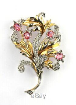 Vintage Signed REJA HUGE Gold Wash Pave Pink Art Rhinestone Floral Spray Brooch