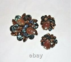 Vintage Signed Regency Saphiret & Rhinestone Brooch & Earring Set