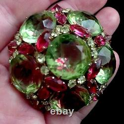 Vintage Signed SCHREINER NEW YORK Watermelon Cabochon Glass Dome Brooch Pendant