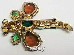 Vintage Signed Schiaparelli Kite Shape Rhinestone DRAGONFLY Bug Pin Brooch