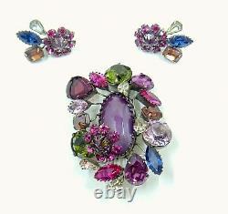 Vintage Signed Schreiner Purple Cabochon Green Pink Fuschia Brooch Earrings Set