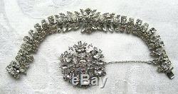 Vintage Signed Sherman Bracelet & Brooch Clear Rhinestones