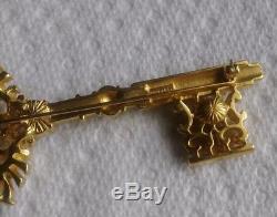 Vintage Signed TRIFARI Fancy Gold Tone Key Pin Brooch Faux Pearl & Rhinestones