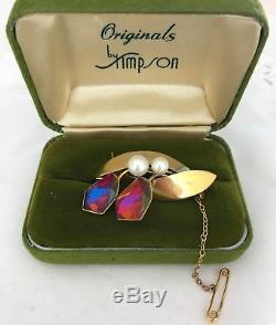 Vintage Simpson Jewellery Brooch Rhinestones Mikimoto Pearls Silver Gilt Boxed