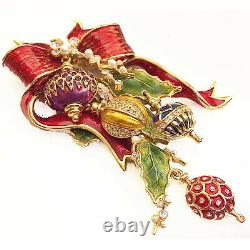 Vintage St John Christmas Corsage Pin Brooch Bow Ornaments & Box Spectacular