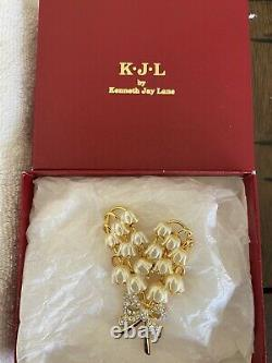 Vintage Stamped Kenneth Jay Lane Lily of the Valley Brooch KJL Flower Pin inBox
