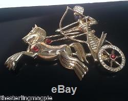Vintage Sterling Kaufman Ruderman Rhinestone Figural Horse Roman Chariot Brooch