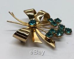 Vintage Sterling Silver Brooch Pin 925 Modernist Rhinestone CORO signed Flower