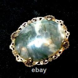 Vintage Sterling Silver OSTBY & BARTON OB Agate Brooch Filigree Art Deco