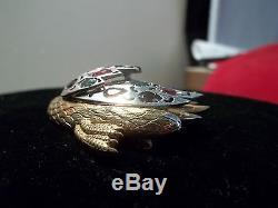 Vintage Sterling Silver Rhinestone Swan Brooch Pin Figural BIRD GLASS