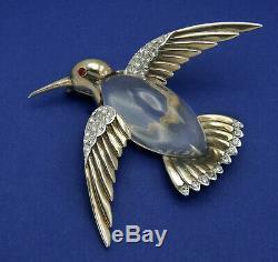 Vintage Sterling Trifari Hummingbird Bird Jelly Belly Brooch Rhinestone Philippe