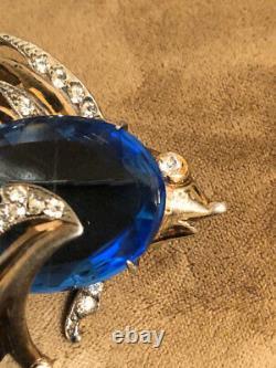 Vintage Sterling Vermeil Blue Belly Rhinestone FISH Pin Brooch